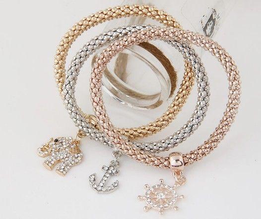 Establece la cadena de moda estiramiento maíz pulsera de cadena del ancla del volante elefante tres en uno oro / plata / de oro rosa pulsera de maíz