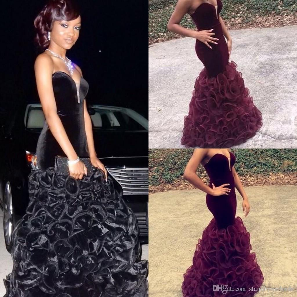 Burgundy Mermaid Prom Dresses 2017 Cheap Long Velvet African ...