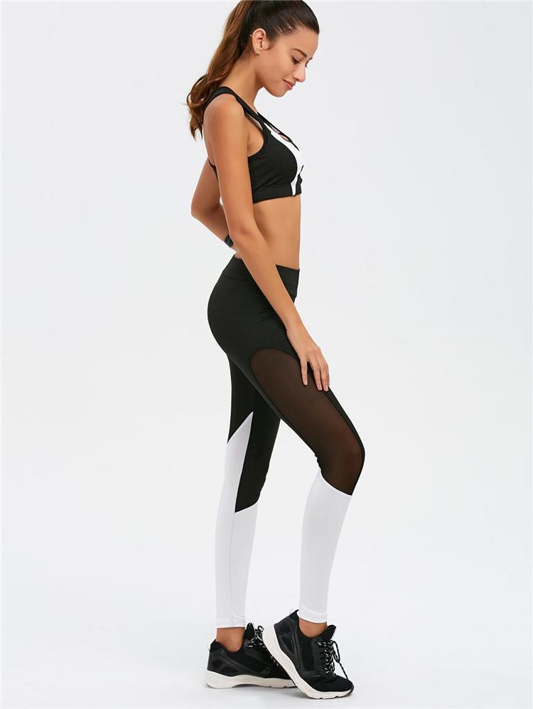 Maillot De Bain De Course Ensemble Noir Blanc Imprimer Soutien-Gorge De Sport Et Pantalon Fitness Soutien-Gorge De Combinaison Débardeurs Entraînement De Capris Ensemble De Jogging De Gym Costumes HGE