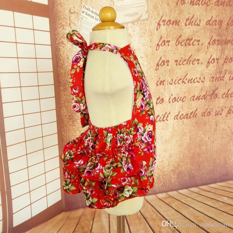 Everweekend Bebek Kız Kırmızı Çiçek Ruffles Tulum Vintage Kore Güzel Çocuk Giyim Westeren Moda Yaz Giysileri