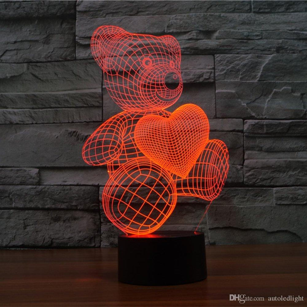 Bear Love Beloved 3D Acrylic Visual Touch Table Lamp Colorful Art Decor Child Creative USB LED Desk Night Light