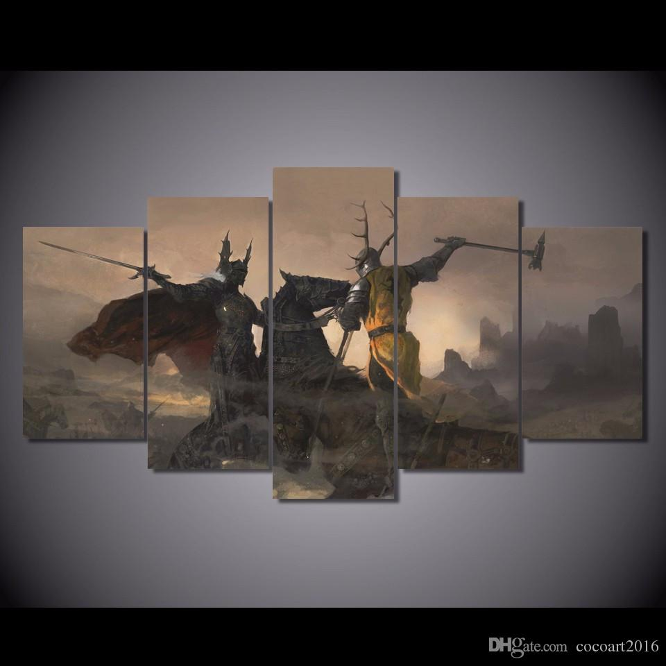 5 Pcs Set Framed HD Printed Game Of Thrones Picture Wall Art Canvas Room Decor Poster Modern Oil Painting