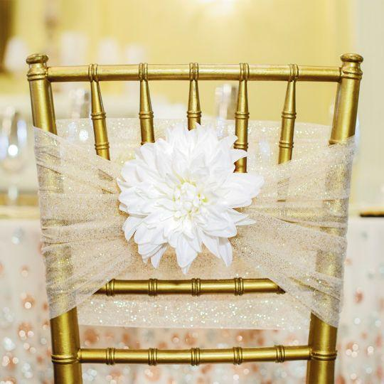 2016 Tulle 3D Flower Sparkly Chair Sashes Romantic Beautiful Chair Covers Cheap Custom Made Wedding Supplies