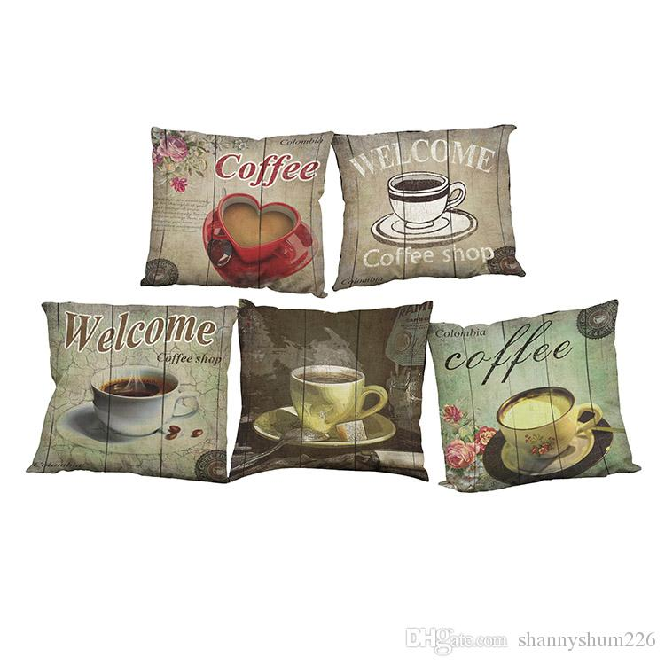 Retro Coffee Pattern Linen Cushion Cover Home Office Sofa Square Pillow Case Decorative Cushion Covers Pillowcases Without Insert(18x18Inch)