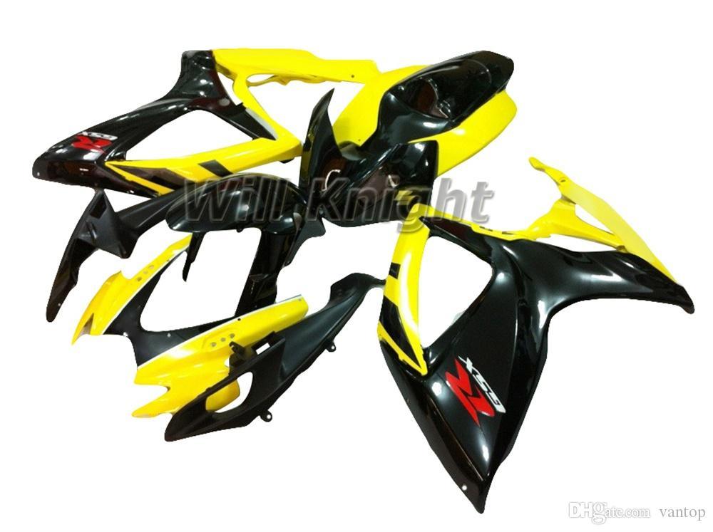 Marco de la motocicleta Kit de carenado completo del cuerpo de inyección para SX R600 R750 K6 2006 2007 Kit de carenado de plástico ABS Injection Black Orange
