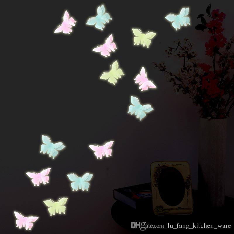 Wholesale- /bag Christmas fashion Luminous butterfly sticker home decoration Window Wall Decorating plastic Sticker Decor Cartoon 2017