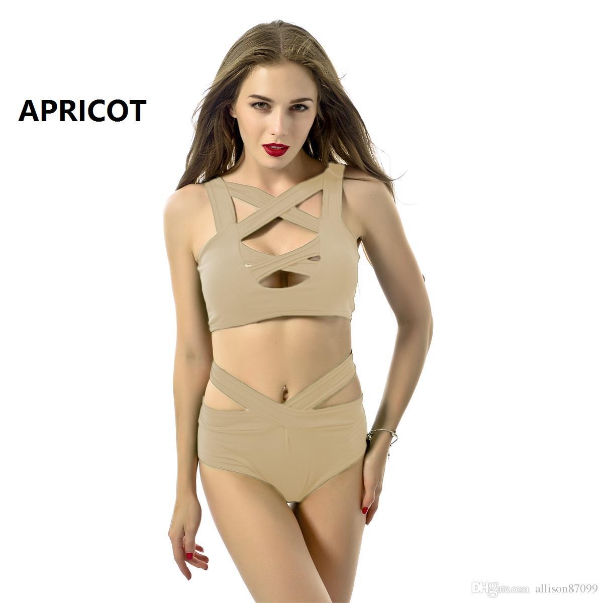 Bademode für Frauen Cross Strap Solid Badeanzüge zweiteilige 8 Farben Sexy Slim Bademode 2017 europäischen Sommer hotsale Armee grün