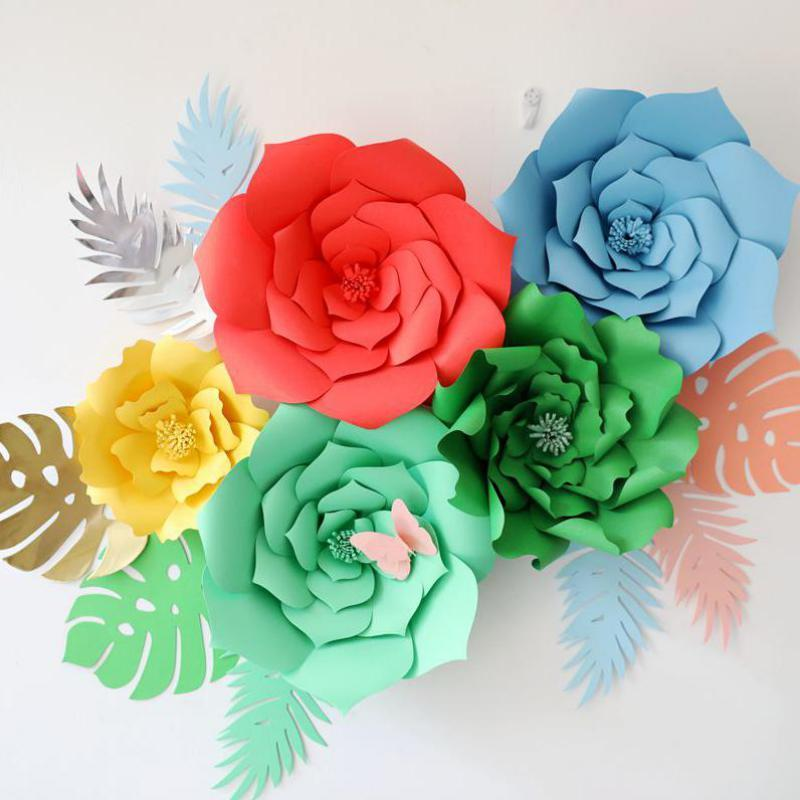 2018 giant card stock paper flowers with leaves full wall wedding giant card stock paper flowers with leaves full wall wedding backdrops decoration windows display photo booth mightylinksfo