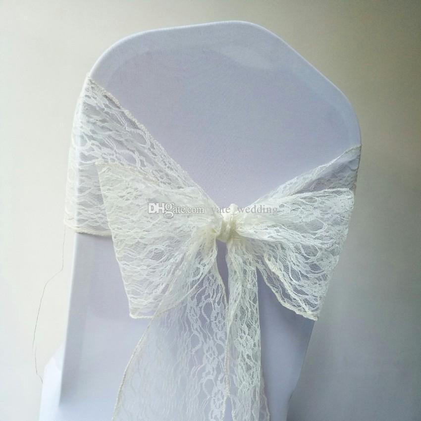 Chaise de mariage en dentelle s'incline Événements de fête d'anniversaire de mariage écharpes de chaise Custom Made White Ivoire chaise couvre 15 * 250 cm