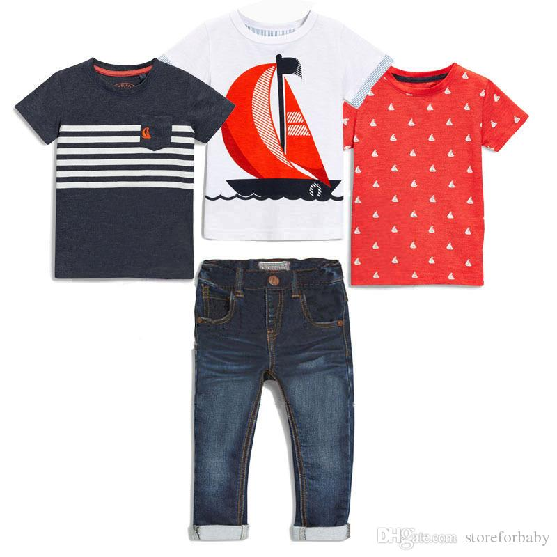 b6ee06be4273 Summer Baby Boy Clothes 3 T Shirts 1 Jeans Clothes Sets Boys Kids T Shirt  Child Boy Tees Children Boys Tops Kid Denim Pants Boy Clothes Sets Kids T  Shirts ...