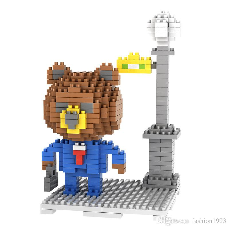 New Brown Bear Minifigures DIY Diamond Building Blocks 3D Cartoon Bear Figures Building Blocks Intelligent Building Toys For Kids