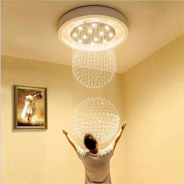 Led Crystal Chandeliers Stair Led Pendant Lighting Fixtures LED Indoor  Pendant Lamp Modern Chandelier High Ceiling Hanging Lamps Led Chandelier  Chandelier ...