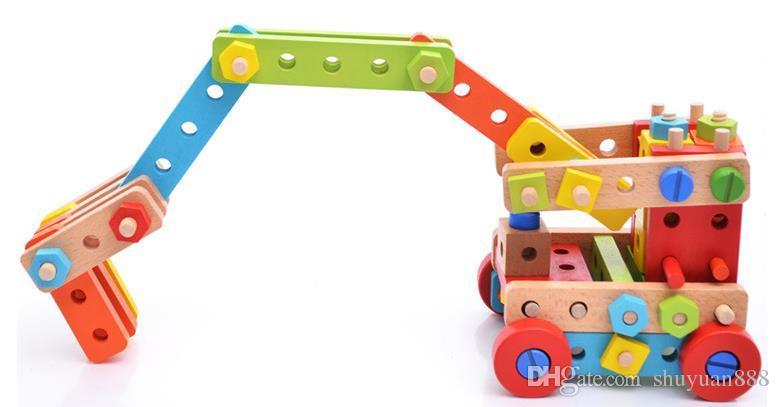 138 Stücke der Supermuttermischungsdemontageschraubenauto-Modellkombination des Puzzlespiels der Kinder hölzerne spielt freies Verschiffen