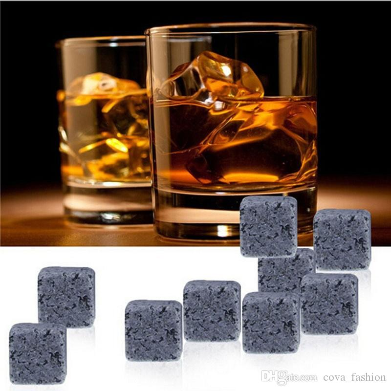 Whiskey Stones Reusable Ice Stone Chilling Rocks Cubes in Gift Box with Carrying Pouch, Set of 9 for Whiskey, Bourbon, Wine ELWS001