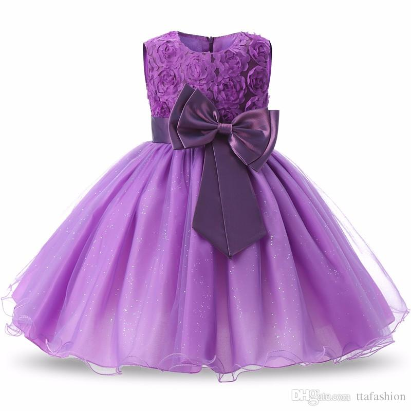 2018 Birthday Party Little Dress Baby Girl Christening Gowns Kids ...