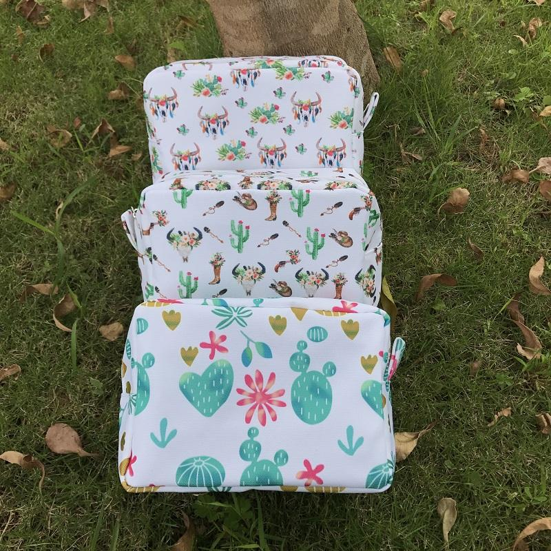 small Wholesale Blanks Cactus Arrows Bullskull Prints Cosmetic bag Polyester Makeup Bag for gifting bag DOM103660