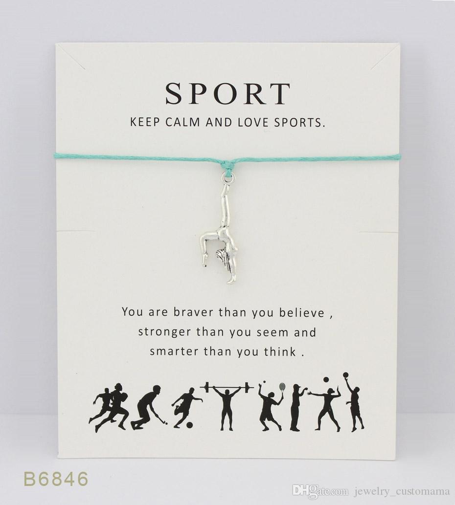 Tono de plata mejor gimnasia pulseras del encanto brazaletes regalos para mujeres niñas declaración de amistad ajustable joyería con tarjeta