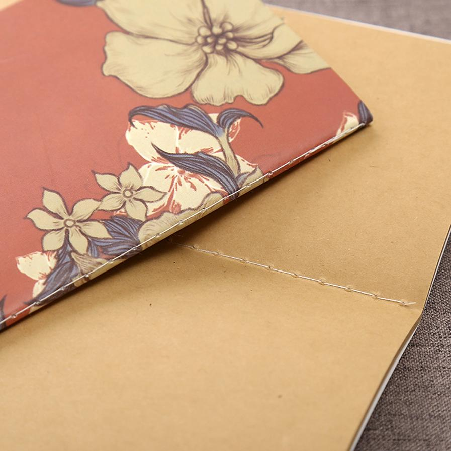 Vintage Retro Flower Series Notebook Office School Supplies Diary Book DIY Retro The Kraft Paper Blank Notepad 4 Color Available