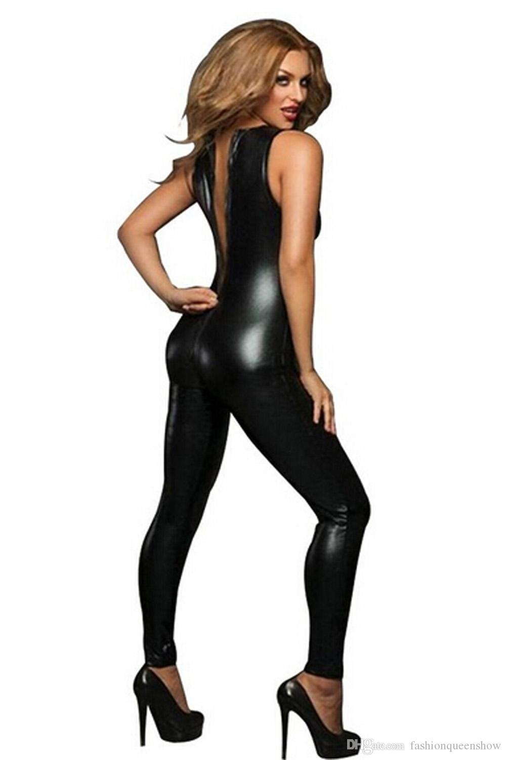 Sexy Wetlook Catsuit Femmes Low Cut 2 Zipper Combinaison sans manches en similicuir Body avec rayure rouge Pole Dancing Clubwear