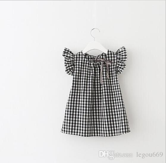 صيف جديد 2017 الأطفال شعرية الأكمام الصيف وبأكمام قصيرة اللباس الفتيات دمية قميص G321