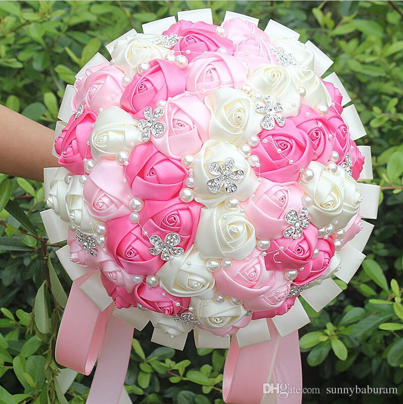 Fuchsia pink ivory wedding bouquets satin lace ribbon pearls fuchsia pink ivory wedding bouquets satin lace ribbon pearls artificial flowers rhinestones crystal sweet 15 quinceanera bouquets w224a 1 wedding flowers mightylinksfo