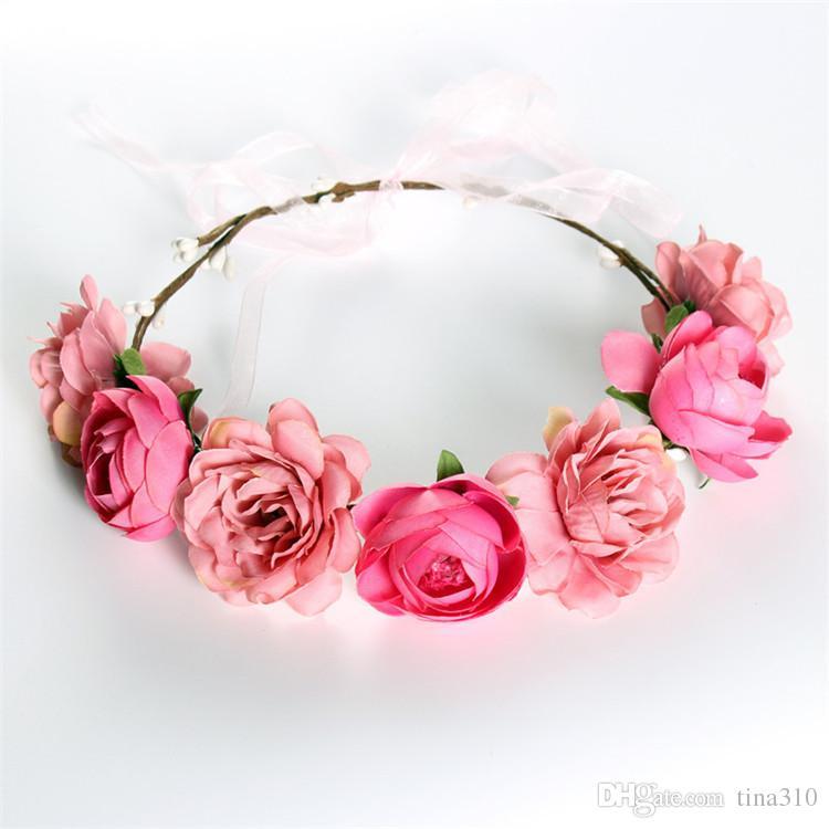 Nouvelle mode Bohême À La Main Fleur Couronne De Mariage De Guirlande De Mariée Coiffure Balnéaire Tourisme Fleurs bande de cheveux IA673