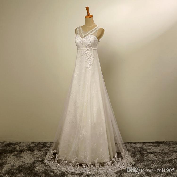 High-end Custom Fashion Sexy Lace Weiß Chiffon Brautkleider Eine ...