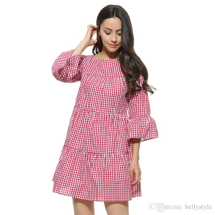 ce67ad3855b82 Women Oversized Pleated Plaid Dress Summer Elegant Checkered Flare ...
