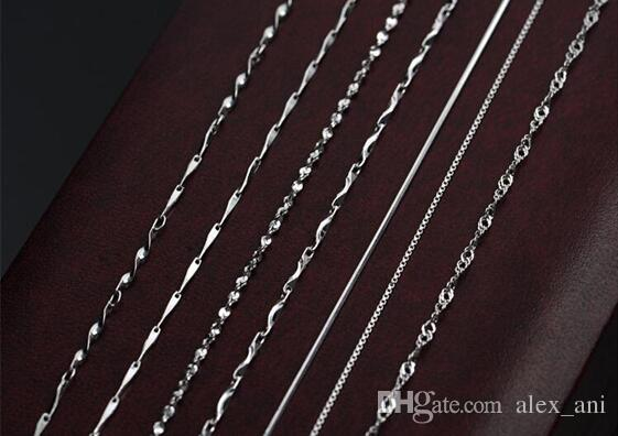 """New 18"""" Genuine 925 Sterling Silver Chains Necklace + Clasps 925 Tag Necklace for woman gifts discount price 2017 Hot sale"""