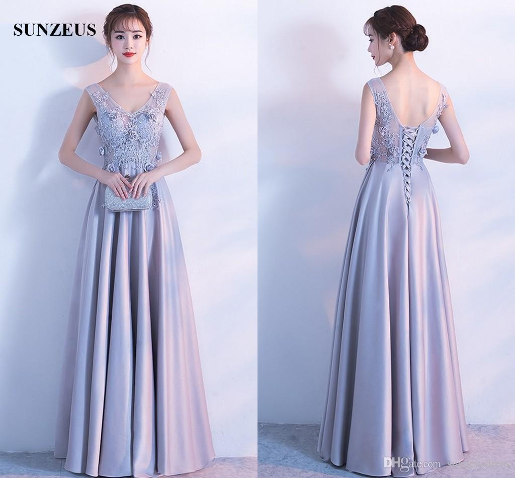 Silver Satin Prom Long Dresses A Line V Neck Sleeveless Sheer Corset