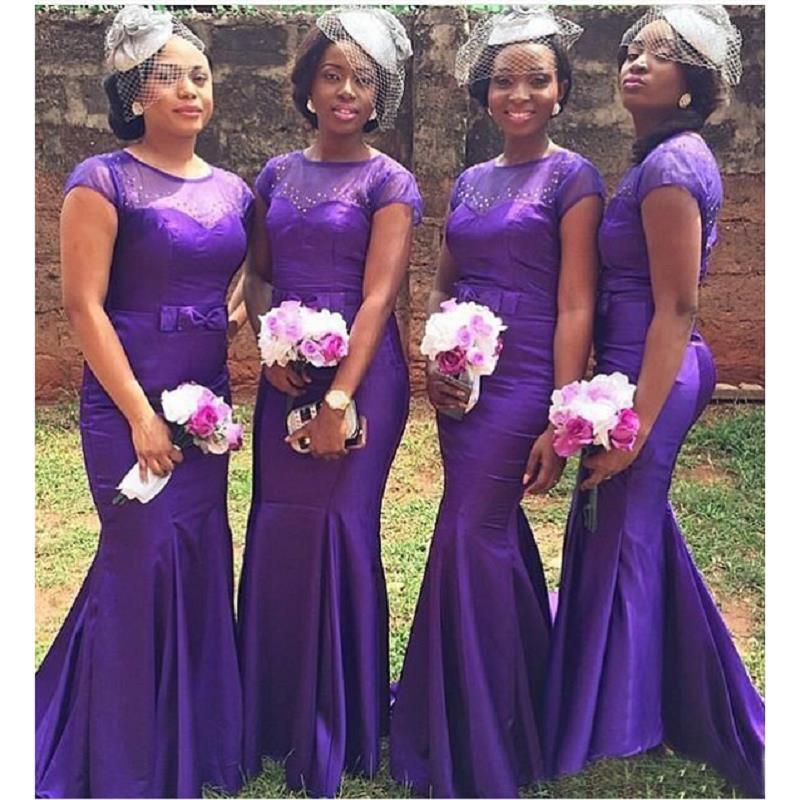 2018 Purple Cap Sleeve Bridesmaid Dresses Sheer Mermaid Floor Length ...