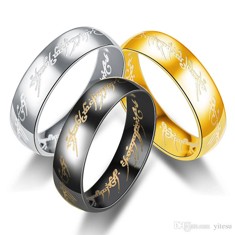 Hot Selling Stainless Steel Lord Of The Rings Hot Selling Wholesale Gold 316L Jewelry For Men Gigts The Hobbit Rings
