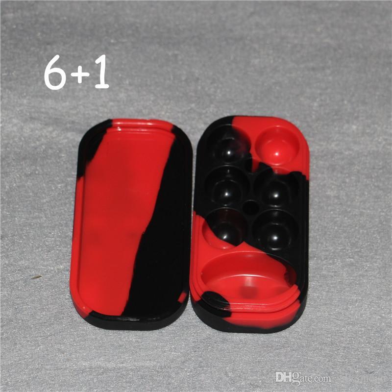 4 ml * 6 + 10 ml * 1 Qualité supérieure Approuvé par la FDA Silicone Jars Dab Cire Vaporisateur Huile Container Huile Slick Silicone Cire Huile Container