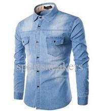 Jeans pour hommes chemise en coton Slim Fit Brand Male Casual Denim Shirts 1 ~ 2size plus petit que l'Europe / US