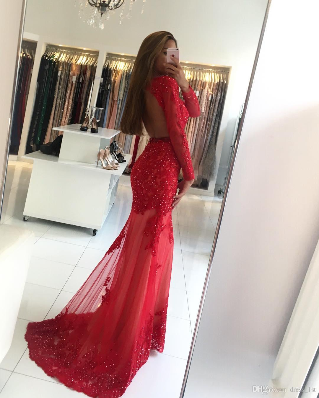 2017 Red Beaded Lace Mermaid Dresses Evening Wear Sexy Backless Long Sleeve Appliqued Sheer Formal Evening Gowns Sleeves Custom Made EN8287