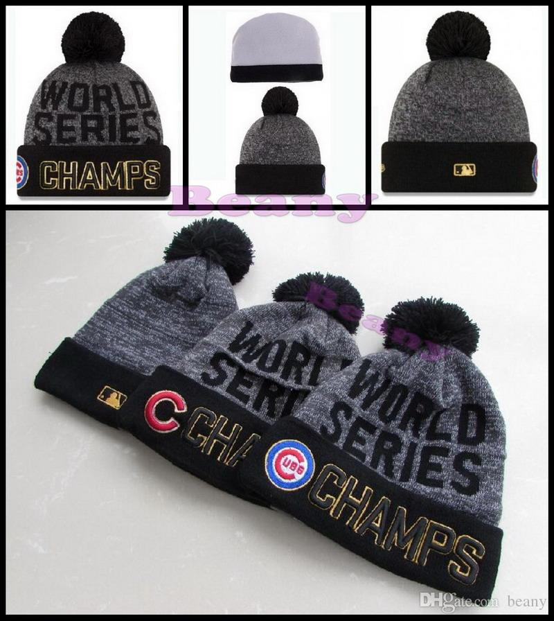 World Series Chicago Cubs Beanie Champs Pom Knit Hats Sports Caps ... f32784eb227