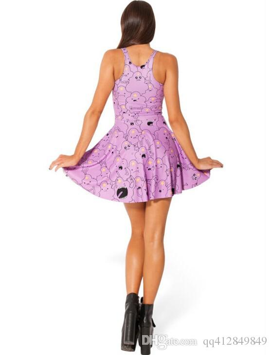 Actory Wholesale 2017 New Style Cartoon Printed Purple Leisure Dresses Cocktail Dresses Long Buy Party Dresses From Qq412849849, $9.95  Dhgate.Com
