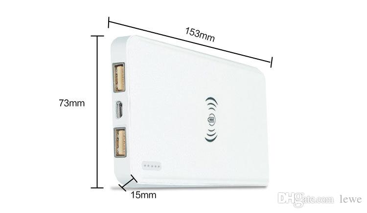 Brand New Qi wireless power bank charger 10000mah capacity mobile power charger dual usb port mobile power bank