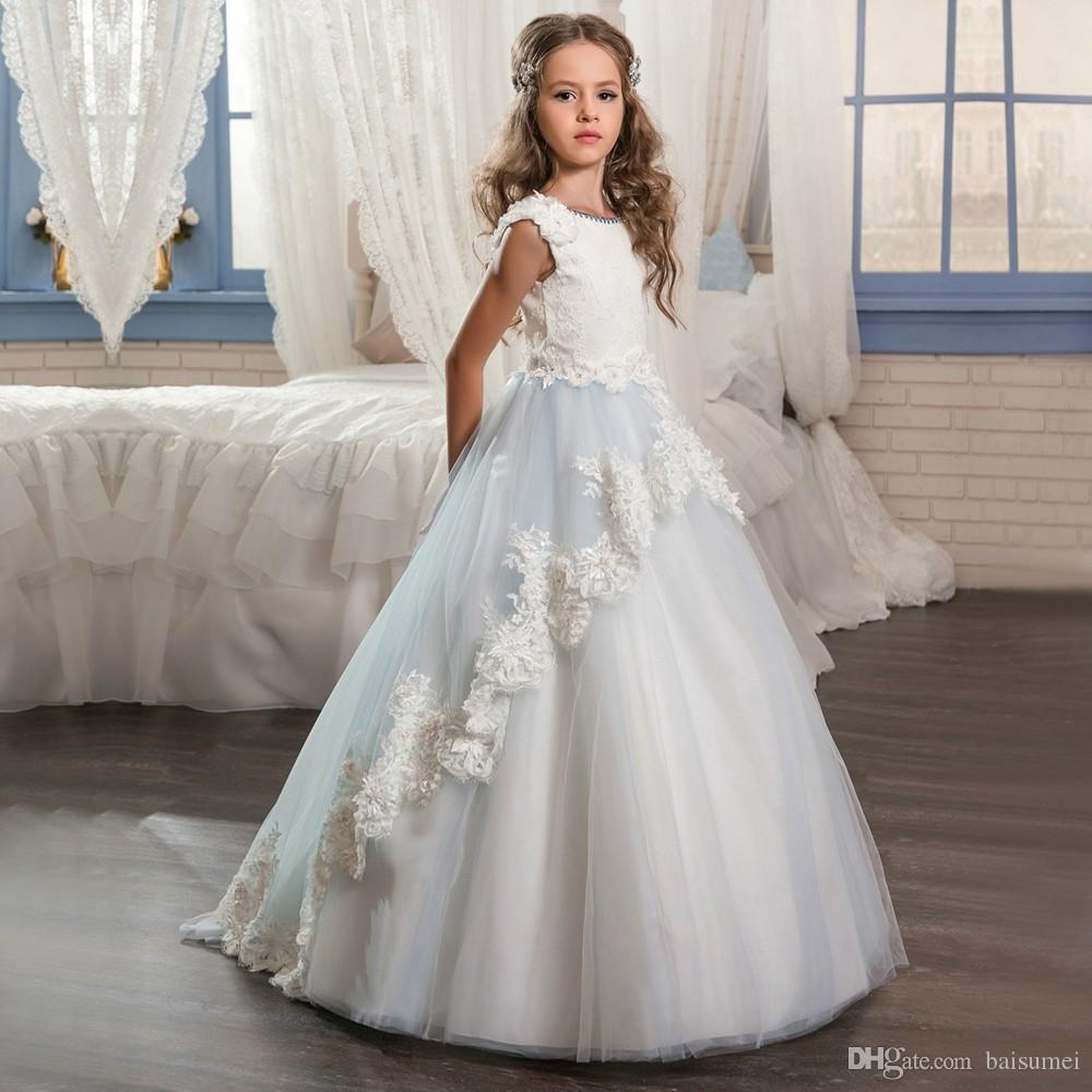Long Flower Girls Dresses For Girls Glitz Lace Train Beautiful Ball Gown Puffy Kids Prom Dress Children Graduation Gown