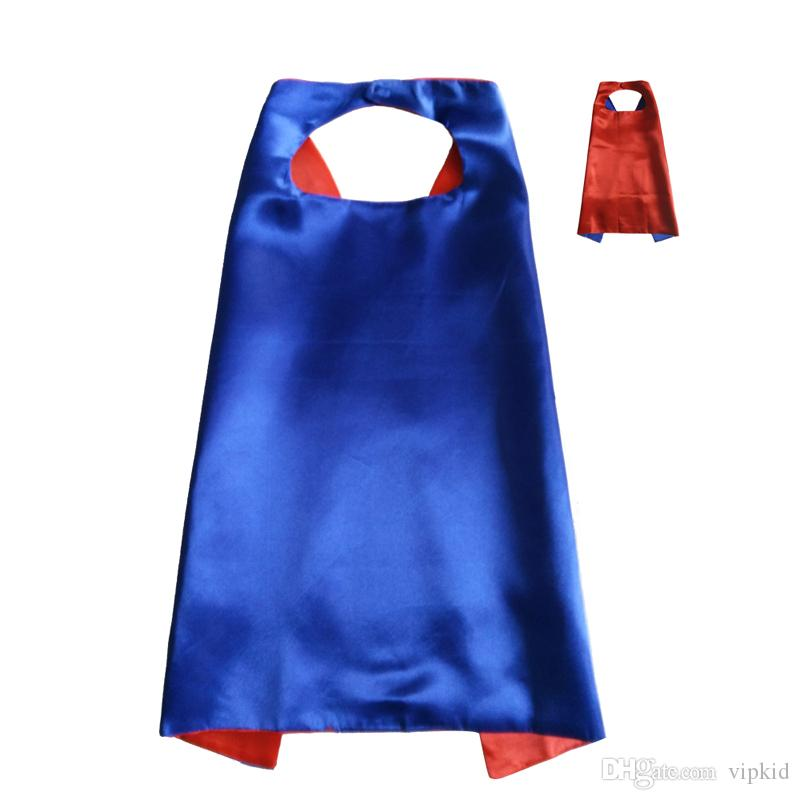 2017 new Solid color double layer cape children Cosplay capes Halloween Party Costumes for Kids clothes