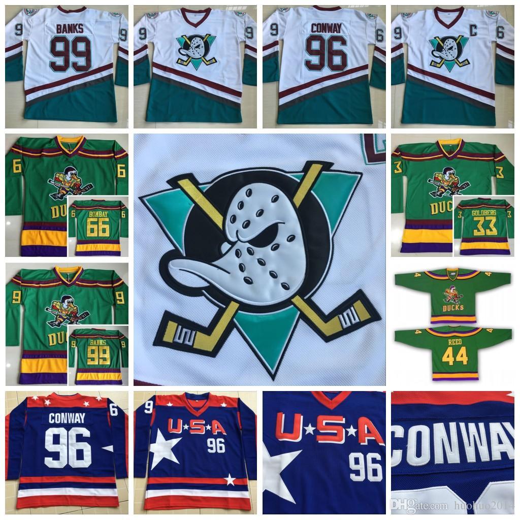 1996 06 Anaheim Mighty Ducks Movie Jerseys USA 96 Charlie Conway 66 Gordon  Bombay 33 Greg Goldberg 99 Adam Banks Potbank Hockey Jerseys UK 2019 From  ... 5552f391b29