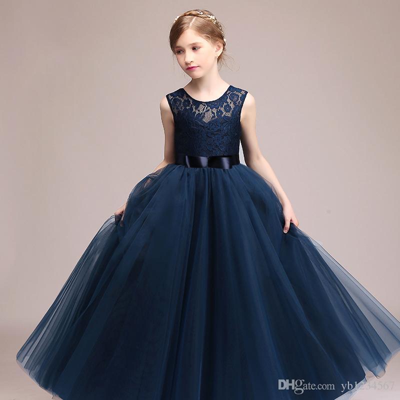 0b33e54a366e Elegant Girls Long Dress Lace Tulle Kids Sleeveless Birthday Party ...