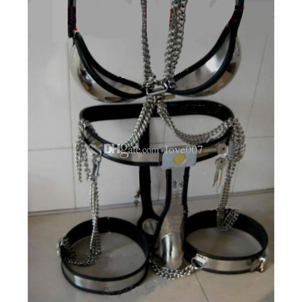 Male Fully Adjustable Model-T with Cage and Plug and Urethral Tube + Thigh Bands + Bra Kit BLACK color