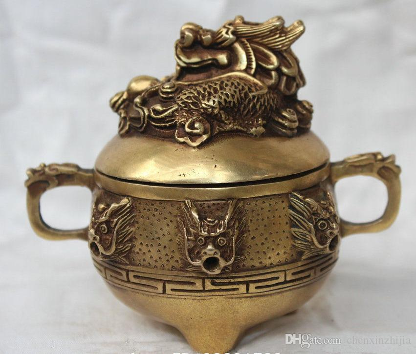 Chinese Brass Dragons Head Statue Incense Burner Censer