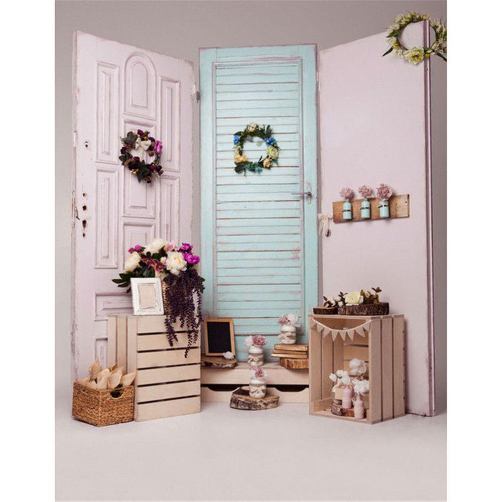 2018 light blue white wooden doors vinyl photo backdrop indoor wood