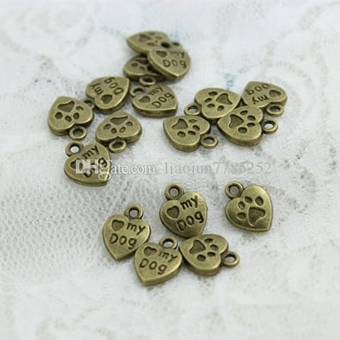 """Sweet Bell Min order  10*13mm Three color Alloy Hearts Lettering """"My Dog"""" Jewelry Pendants CharmsD0559"""