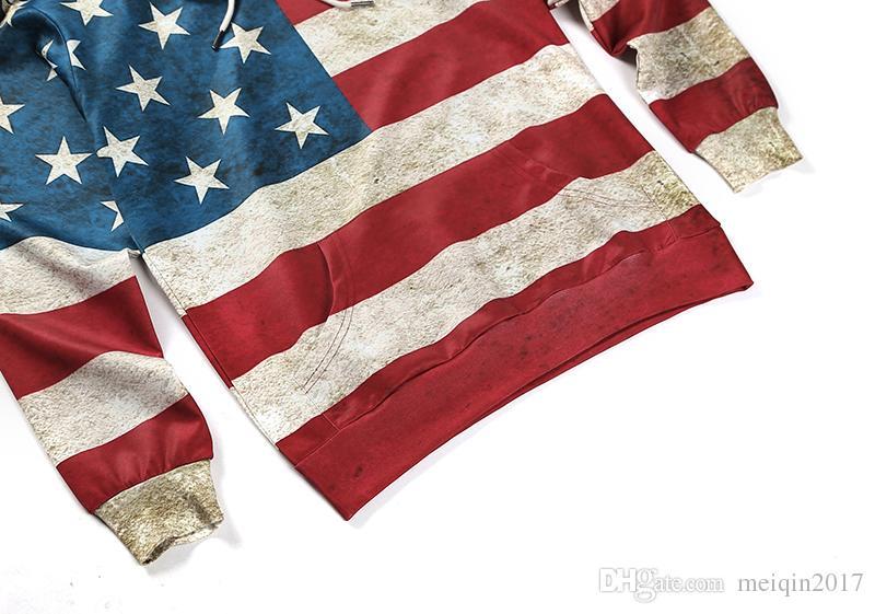 Felpa con cappuccio da uomo Felpe con cappuccio stampato Hip Hop con cappuccio pullover America Flag Cappotto con stampa 3d Plus Size M XXL 3XL SX-123