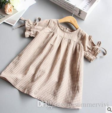 fc65ccbbc 2019 Baby Girls Dress Shirt Fashion Girls Plaid Lace Up Bows Princess Tops  Children Falbala Short Sleeve Dress Kids Summer Cotton Blouses T4637 From  ...
