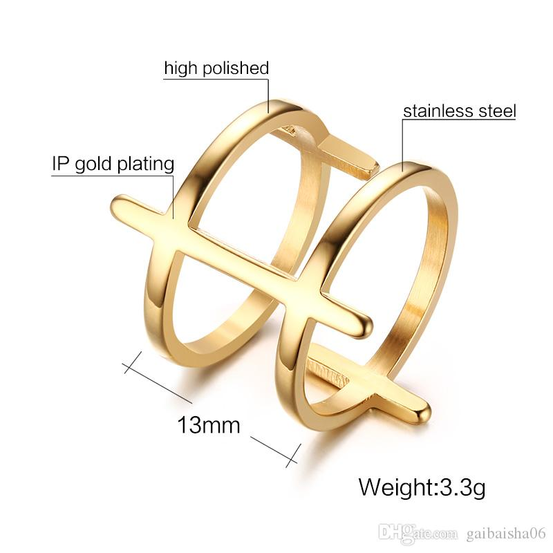 Meaeguet Fashion Ring Jewelry Gold-Color Stainless Steel Double Sideway Cross Statement Rings for Womens Anillos Bague R-157G