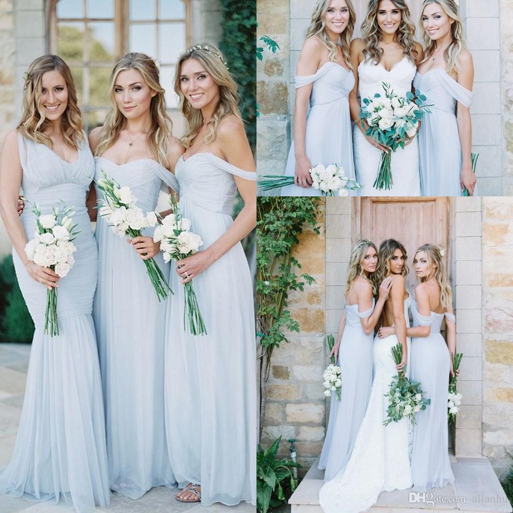 ビーチの花嫁介添人ドレス2017アイスブルーシフォン肩の夏の結婚披露宴パーティーガウン長い安いシンプルなドレス